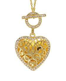 With You Lockets Clara Heart Toggle Locket Necklace with Swarovski Crystals in 14k Yellow Gold over Sterling Silver (Also Available in 14k Rose Gold over Sterling Silver)