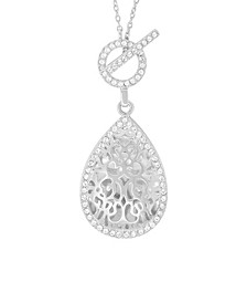 Bella Photo Toggle Locket Necklace with Swarovski Crystal in Sterling Silver