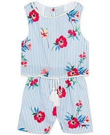 Baby Girls Open Back Popover Romper