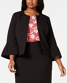 Nine West Plus Size Bell-Sleeve Open-Front Blazer