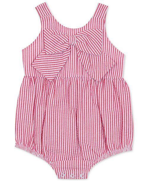 Rare Editions Baby Girls Striped Bow Bubble Bodysuit