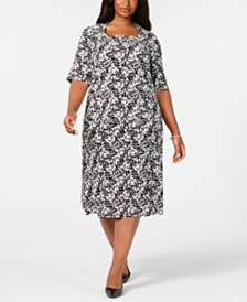 Kasper Plus Size Printed Top & A-Line Skirt