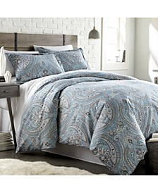 Pure Melody Classic Paisley 3 Piece Reversible Comforter Set, Twin/Twin XL