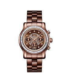 JBW Women's Laurel Diamond (1/10 ct.t.w.) Brown Ion-Plated Stainless Steel Watch