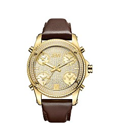 JBW Men's Jet Setter Diamond (1 1/4 ct.t.w.) 18k Gold Plated Stainless Steel Watch