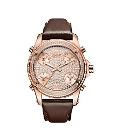 JBW Men's Jet Setter Diamond (1 1/4 ct.t.w.) 18K Rose Gold Plated Stainless Steel Watch