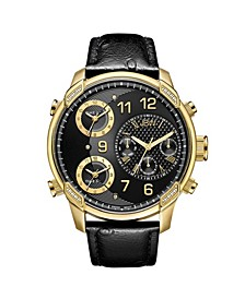 Men's Limited Edition G4 Leather Diamond (1/5 ct.t.w.) 18k Gold Plated Stainless Steel Watch