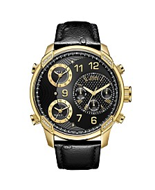 JBW Men's Limited Edition G4 Leather Diamond (1/5 ct.t.w.) 18k Gold Plated Stainless Steel Watch