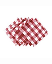 Wine Heavyweight Check Fringed Napkin Set of 6