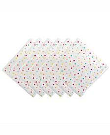 Multi Polka Dots Print Napkin Set of 6