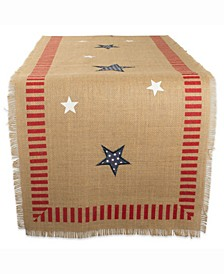 "4Th of July Jute Table Runner 14"" X 74"""