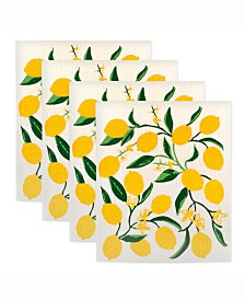 Lemon Swedish Dishcloth Set of 4