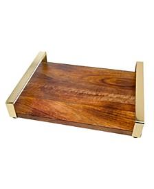 Godinger Medium Wood Tray with Gold Handles