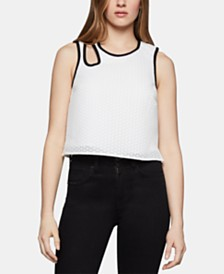 BCBGeneration Cutout-Neck Mesh Top