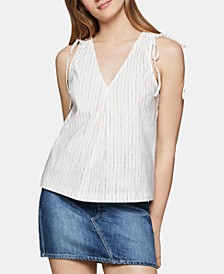 Striped Drawstring-Shoulder Top