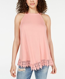 Hippie Rose Juniors' Rib-Knit Crochet Tunic Tank Top