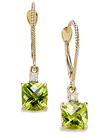 14k Gold Earrings, Peridot (2-1/5 ct. t.w.) and Diamond Accent Long Drop Square Earrings