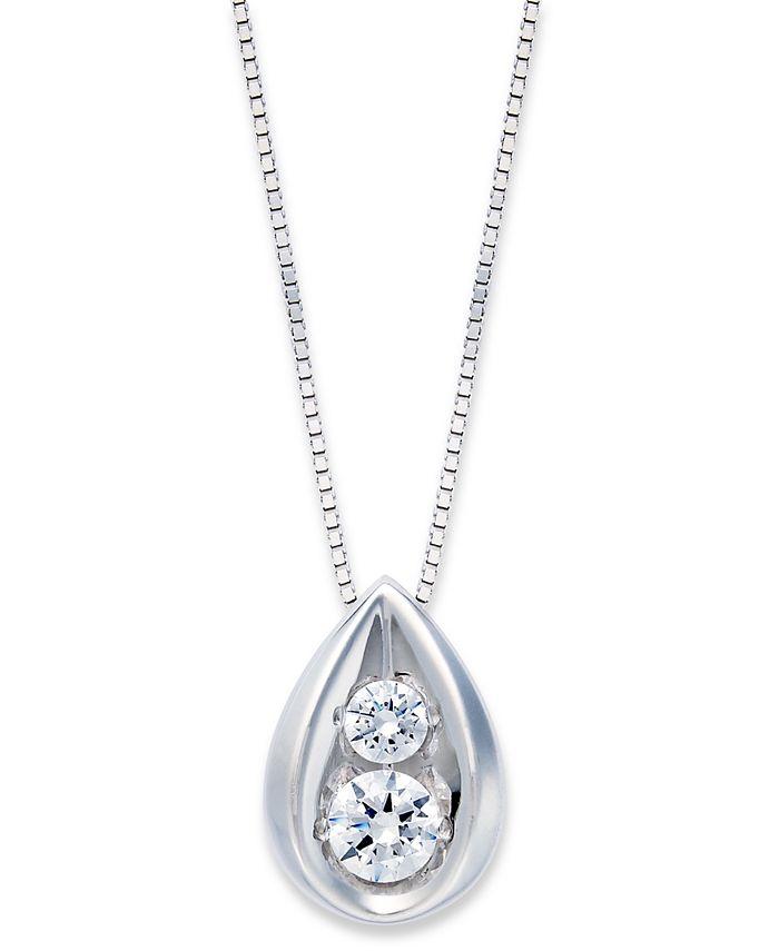 Macy's - Diamond Teardrop Pendant Necklace in 14k Gold (1/4 ct. t.w.)