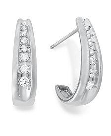 Diamond Channel-Set J Hoop Earrings in 14k White Gold (1/4 - 1/2 ct. t.w.)