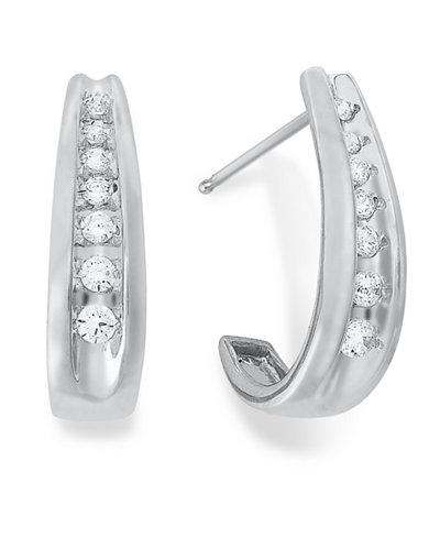 Diamond Channel-Set J Hoop Earrings in 14k White Gold (1/4 ct. t.w.)