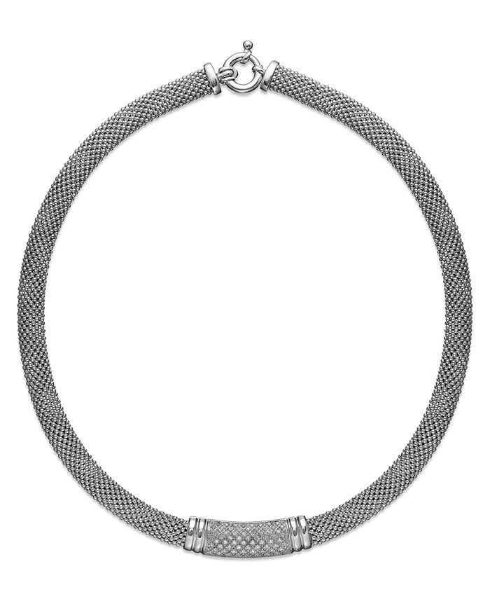 Macy's - Diamond Dew Drop Bar Necklace in Sterling Silver (3/4 ct. t.w.)