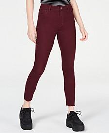 Juniors' Colored High-Rise Raw-Hem Skinny Jeans