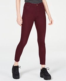 Tinseltown Juniors' Colored High-Rise Raw-Hem Skinny Jeans