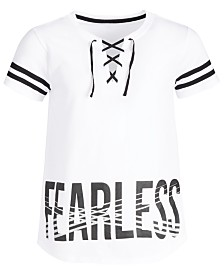 Ideology Big Girls Fearless-Print Lace-Up T-Shirt, Created for Macy's