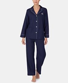 Lauren Ralph Lauren Piping-Trim Pajama Set