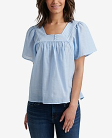 Striped Square-Neck Flutter-Sleeve Cotton Top