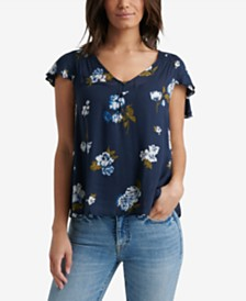 Lucky Brand Floral Smocked Flutter-Sleeve Top