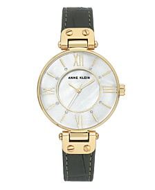 Anne Klein Genuine Mother of Pearl Dial with Roman Numerals and Swarovski Crystals Watch