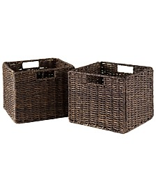Winsome Granville Foldable 2-Pc Small Corn Husk Baskets