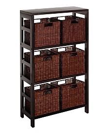 Winsome Leo 7Pc Shelf and Baskets, One Shelf, 6 Small Baskets, 3 Cartons