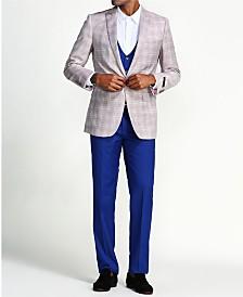 Men's Slim Fit Plaid Jacket 3-Piece Suit