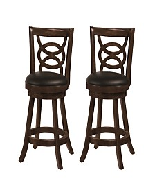 "Archer 24"" Swivel Counter Stools with Upholstered Seat (Set of 2)"