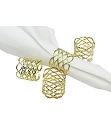 Set of 4 Gold Mesh Napkin Rings