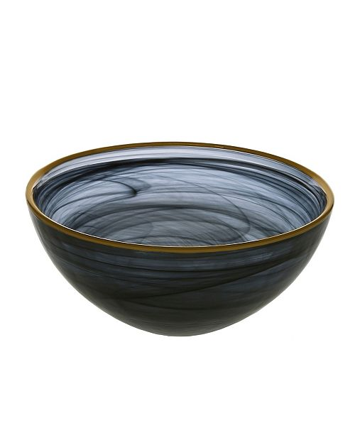 "Classic Touch Black Alabaster 6.25"" Bowl with Gold Rim"