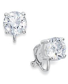 Lauren Ralph Lauren Silver-Tone Cubic Zirconia Clip On Earrings