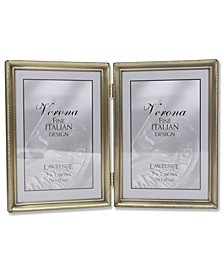 "Antique Brass Hinged Double Picture Frame - Bead Border Design - 5"" x 7"""