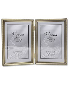 """Lawrence Frames Antique Brass Hinged Double Picture Frame - Bead Border Design - 5"""" x 7"""""""
