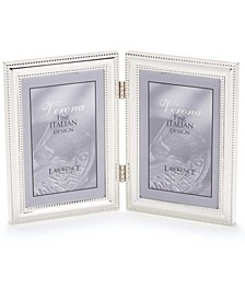 "Hinged Double Metal Picture Frame Silver-Plate with Delicate Beading - 5"" x 7"""