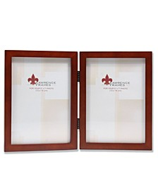 "Hinged Double Walnut Wood Picture Frame - Gallery Collection - 5"" x 7"""