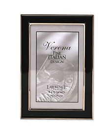 "Lawrence Frames Silver Plated Metal with Black Enamel Picture Frame - 4"" x 6"""