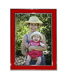 "Silver Plated Metal with Red Enamel Picture Frame - 8"" x 10"""