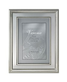 "Silver Plated Metal Picture Frame - Brushed Silver Inner Panel - 8"" x 10"""