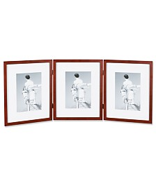 "Lawrence Frames Walnut Wood 8x10 Hinged Triple Picture Frame - Comes with Bevel Cut Mats For 5"" x7"" Photos - 8"" x 7"""