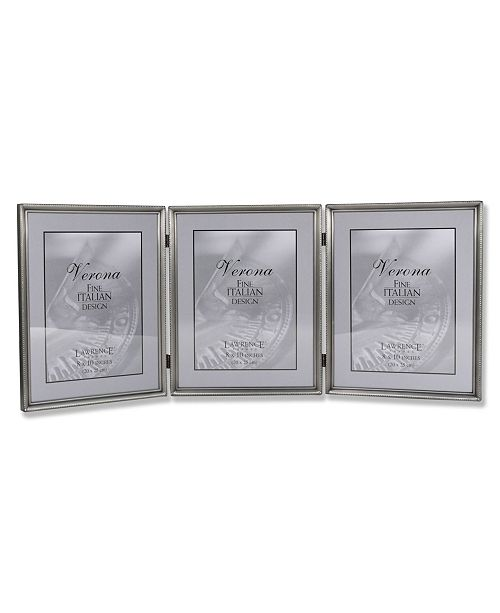 """Lawrence Frames 11580T Brushed Pewter Bead Hinged Triple Picture Frame - 8"""" x 10"""""""