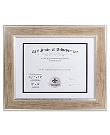 "Dual Use Blonde 11"" x 14"" Certificate Picture Frame with Double Bevel Cut Matting For Document - 8.5"" x 11"""