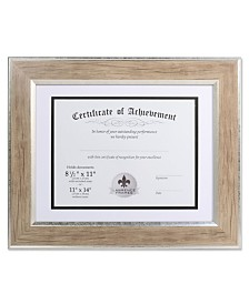 "Lawrence Frames Dual Use Blonde 11"" x 14"" Certificate Picture Frame with Double Bevel Cut Matting For Document - 8.5"" x 11"""
